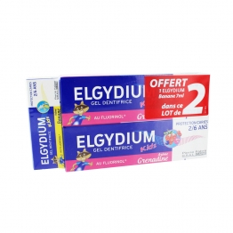 ELGYDIUM DENTIFRICE KIDS AU FLUORINOL AROME GRENADINE 2X50ML + AROME BANANE 7ML