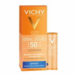 EMULSION ANTI BRILLANCE SPF50 50ML+ STICK SPF30 4.7ML IDEAL SOLEIL OFFERT VICHY