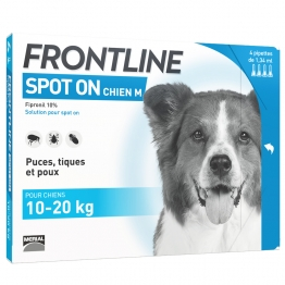 FRONTLINE SPOT-ON CHIEN M 10-20 KG 4 PIPETTES DE 1.34ML