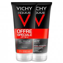 GEL DOUCHE CORPS & CHEVEUX HYDRATANT ENERGISANT 2X200ML HOMME HYDRA MAG-C VICHY
