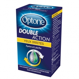 GOUTTES POUR YEUX IRRITES 10ML DOUBLE ACTION OPTONE