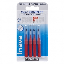 INAVA MONO COMPACT BROSSETTES INTERDENTAIRES ESPACES LARGES 1.5MM ROUGE X4