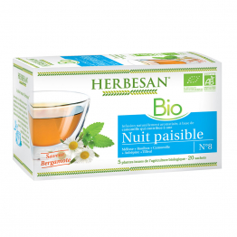 Infusion Camomille Nuit Paisible Bio 20 sachets Saveur Bergamote Herbesan