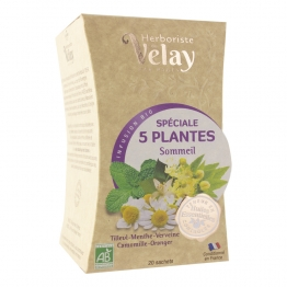 INFUSION SPECIALE 5 PLANTES SOMMEIL BIO 20 SACHETS PAGES
