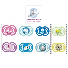 MAM SUCETTE ANATOMIQUE SILICONE PERFECT ANIMAUX 6 MOIS + X2