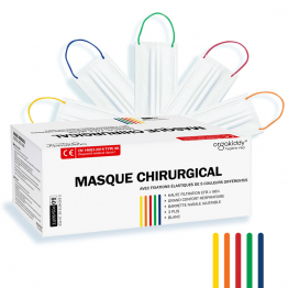 Masques chirurgicaux blancs Adultes 3 plis x50 Marquage CE - Norme EN14683-2019 TYPE IIR Orgakiddy