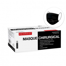 Masques chirurgicaux Noirs Adultes 3 plis x50 Marquage CE - Norme EN14683-2019 TYPE IIR Orgakiddy