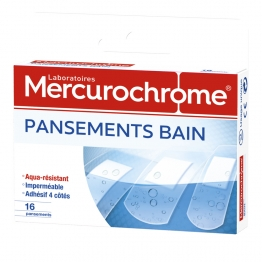 MERCUROCHROME PANSEMENTS BAIN 3 TAILLES 16 PANSEMENTS