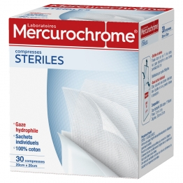 MERCUROCHROME COMPRESSES STERILES 20CMX20CM X30