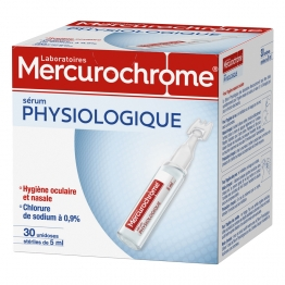 MERCUROCHROME SERUM PHYSIOLOGIQUE 30 UNIDOSES DE 5ML