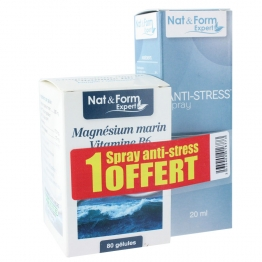 NAT&FORM MAGNESIUM MARIN VITAMINE B6 80 GELULES + SPRAY ANTI-STRESS 20ML