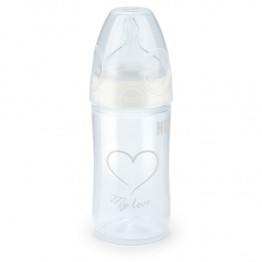 "NUK BIBERON ""MY LOVE"" BLANC PP TETINE SILICONE FIRST CHOICE 1S 0-6 MOIS 150ML"