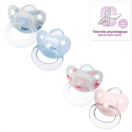 NUK 2 SUCETTES PHYSIOLOGIQUES EN SILICONE COLLECTION ROSE AND BLUE 6-18 MOIS
