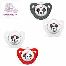 NUK 2 SUCETTES PHYSIOLOGIQUES EN SILICONE COLLECTION MICKEY 6-18 MOIS