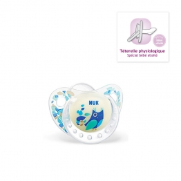 NUK SUCETTE PHYSIOLOGIQUE SILICONE PHOSPHORESCENTE NIGHT&DAY TAILLE1 0-6MOIS