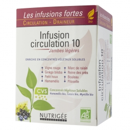 NUTRIGEE INFUSION CIRCULATION 10 JAMBES LEGERES 30 SACHETS BIO