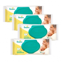 PAMPERS SENSITIVE LINGETTES 4X50