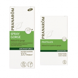 PRANARÔM AROMAFORCE SPRAY GORGE BIO 15ML + PASTILLES APAISANTES X21