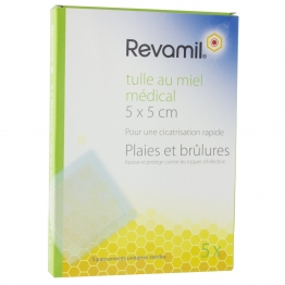 REVAMIL TULLE AU MIEL MEDICAL 5X5CM 5 PANSEMENTS