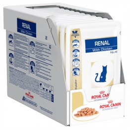 ROYAL CANIN VETERINARY DIET RENAL BOUCHEES EN SAUCE AU POULET POUR CHAT X12 SACHETS 85G