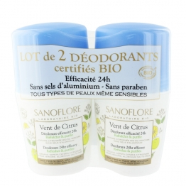 SANOFLORE DEODORANT VENT DE CITRUS ROLL-ON BIO 2X50ML