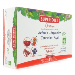 SUPERDIET QUATUOR ACEROLA - ARGOUSIER - CANNELLE - ACAI / FATIGUE BIO 20 AMPOULES X 15 ML