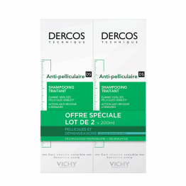 SHAMPOOING ANTI-PELLICULAIRE 2X200ML DERCOS CHEVEUX NORMAUX A GRAS VICHY