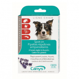 Spot-On Pipettes répulsives antiparasitaires Chien 3x3ml Canys
