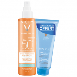 SPRAY PROTECTEUR REHYDRATANT SPF50+ 200ML CAPITAL SOLEIL + APRES-SOLEIL IDEAL SOLEIL OFFERT VICHY
