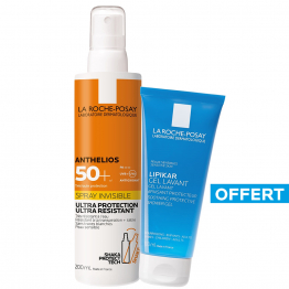 SPRAY SOLAIRE INVISIBLE SPF50+ 200ML ANTHELIOS + GEL LAVANT 100ML LIPIKAR LA ROCHE-POSAY