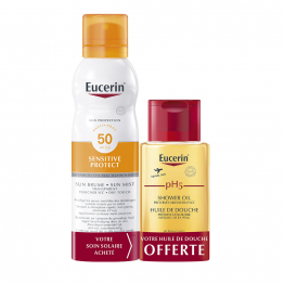 SUN BRUME TRANSPARENT SPF50 200ML + HUILE DE DOUCHE 50ML OFFERT SENSITIVE PROTECT EUCERIN
