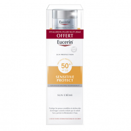 SUN CREME SPF50+ 50ML + HYLURON FILLER NUIT 20ML SENSITIVE PROTECT PEAU SENSIBLE EUCERIN