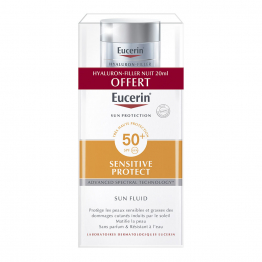 SUN FLUIDE SPF50+ 50ML + HYALURON FILLER NUIT 20ML OFFERT SENSITIVE PROTECT EUCERIN