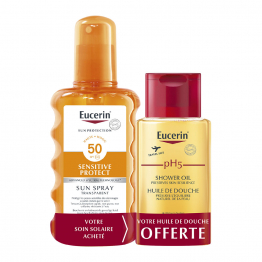 SUN SPRAY TRANSPARENT SPF50 200ML + HUILE DE DOUCHE 100ML OFFERT SENSITIVE PROTECT EUCERIN