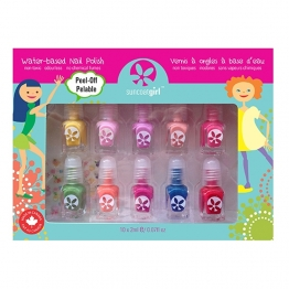SUNCOAT GIRL KIT DE VERNIS PARTY PALETTE 10 MINI VERNIS 2ML + LIME A ONGLES + STICKERS