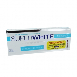 SUPERWHITE ORIGINAL DENTIFRICE BLANCHEUR BLANCHISSANT ET ANTI PLAQUE 2X75ML