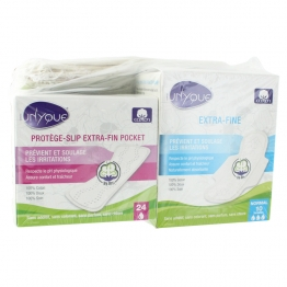 UNYQUE PACK SERVIETTES HYDRI EXTRA FINE NORMAL X10 + PROTEGE SLIP POCKET EXTRA FIN X24