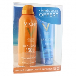 VICHY SOLAIRE IDEAL SOLEIL BRUME HYDRATANTE INVISIBLE SPF50 200ML + APRES-SOLEIL OFFERT 100ML