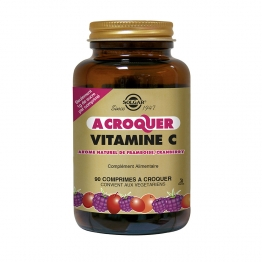 VITAMINE C 500MG 90 COMPRIMES A CROQUER AROME FRAMBOISE CRANBERRY SOLGAR