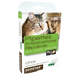 ZOOSTAR PIPETTES ANTIPARASITAIRES REPULSIVES AUX ACTIFS NATURELS CHAT 3X2ML