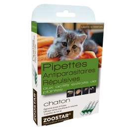 ZOOSTAR PIPETTES ANTIPARASITAIRES REPULSIVES CHATON 3X0.6ML