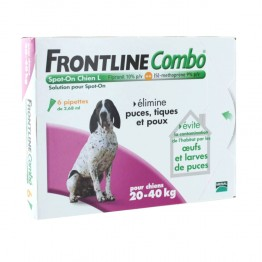 FRONTLINE COMBO SPOT-ON L CHIEN 20-40KG 6 PIPETTES