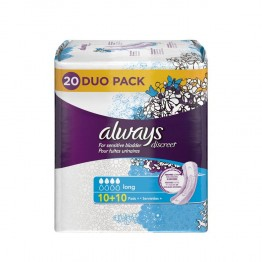 ALWAYS DISCREET LONG 20 SERVIETTES