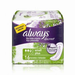 ALWAYS DISCREET 16 SERVIETTES SMALL PLUS
