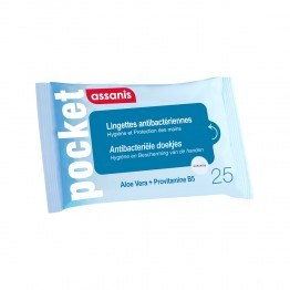 ASSANIS POCKET LINGETTES ANTI BACTERIENNES X25