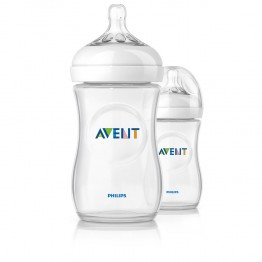 AVENT LOT BIBERONS NATURAL PP TETINES SILICONE DEBIT LENT 1 MOIS ET PLUS 2X260ML