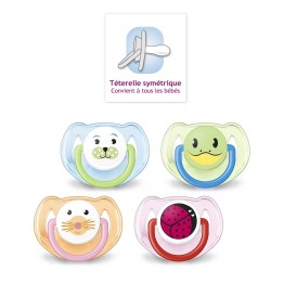 AVENT SUCETTES SILICONE ORTHODONTIQUES ANIMAUX 6-18 MOIS LOT 2