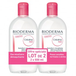 BIODERMA CREALINE H2O SOLUTION MICELLAIRE SANS PARFUM 2X500ML
