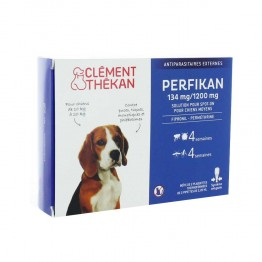 CLEMENT THEKAN PERFIKAN ANTIPARASITAIRES EXTERNES SPOT-ON MOYENS CHIENS 10 A 20KG PIPETTES X4
