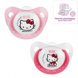 NUK 2 SUCETTES PHYSIOLOGIQUES EN SILICONE COLLECTION HELLO KITTY 0-6 MOIS
